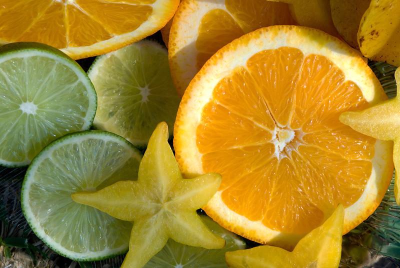 Fruits Star fruit, oranges, lime