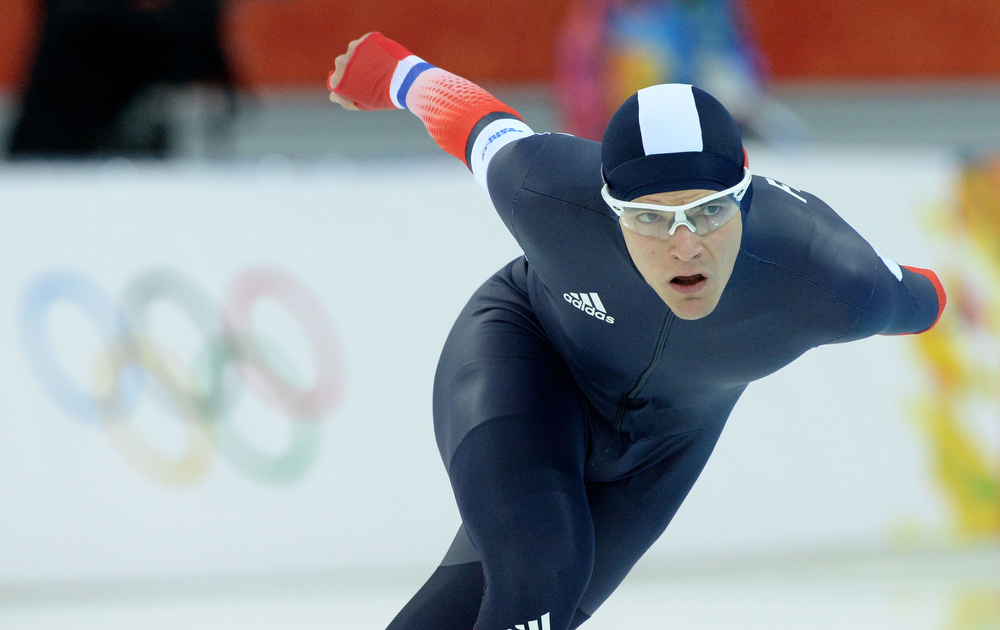 . France\'s Ewen Fernandez competes in the Men\'s Speed Skating 5000m at the Adler Arena during the 2014 Sochi Winter Olympics on February 8, 2014.  (ANDREJ ISAKOVIC/AFP/Getty Images)