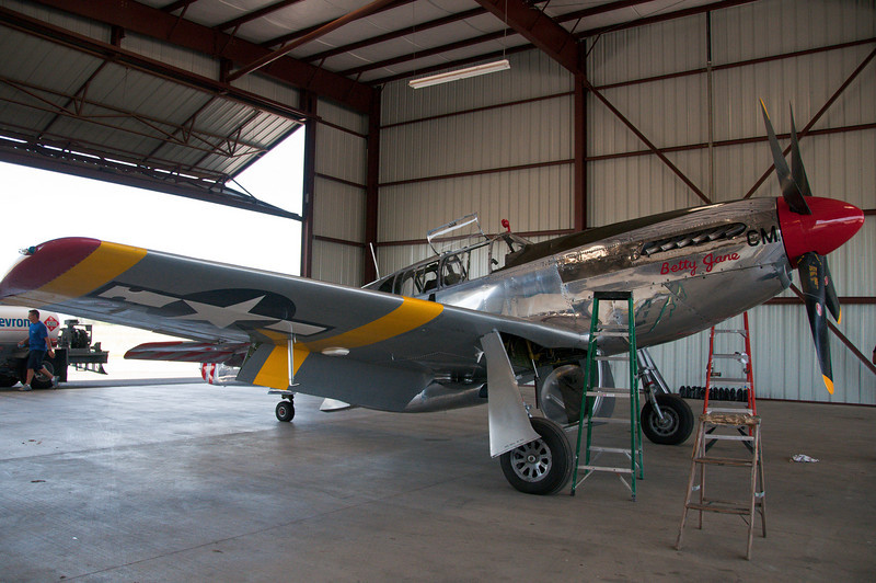 "WWII vintage North American P-51C belonging to the Collings Foundation and used for flight demos and instructions around the country.  The airplane was originally built as a P-51""B"" (single seat) and later converted to a ""C"" (two seater)."