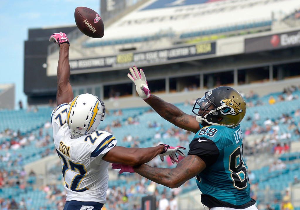 . San Diego Chargers cornerback Derek Cox (22) knocks away a pass intended for Jacksonville Jaguars tight end Marcedes Lewis (89) in the end zone during the second half of an NFL football game in Jacksonville, Fla., Sunday, Oct. 20, 2013. The Chargers won 24-6.(AP Photo/Phelan M. Ebenhack)