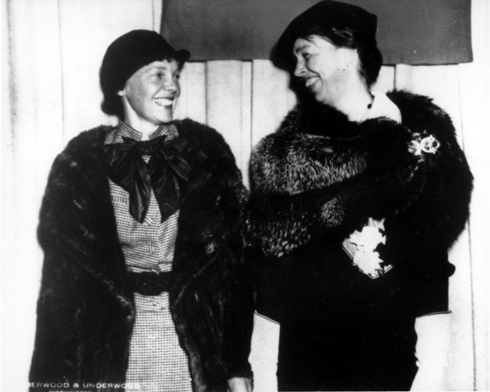 . Aviator Amelia Erhart shares a moment with U.S. First Lady Eleanor Roosevelt at the National Geographic Headquarters in Washington, D.C. on March 2, 1935.  (AP Photo)