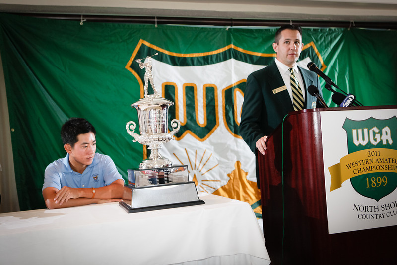 Defending Western Amateur Champion David Chung and Western Golf Association Vice President of Tournaments Vince Pellegrino at Media Day for the Western Amateur at Northshore CC in Glenview IL on Thursday July 21, 2011. Photographs by Charles Cherney