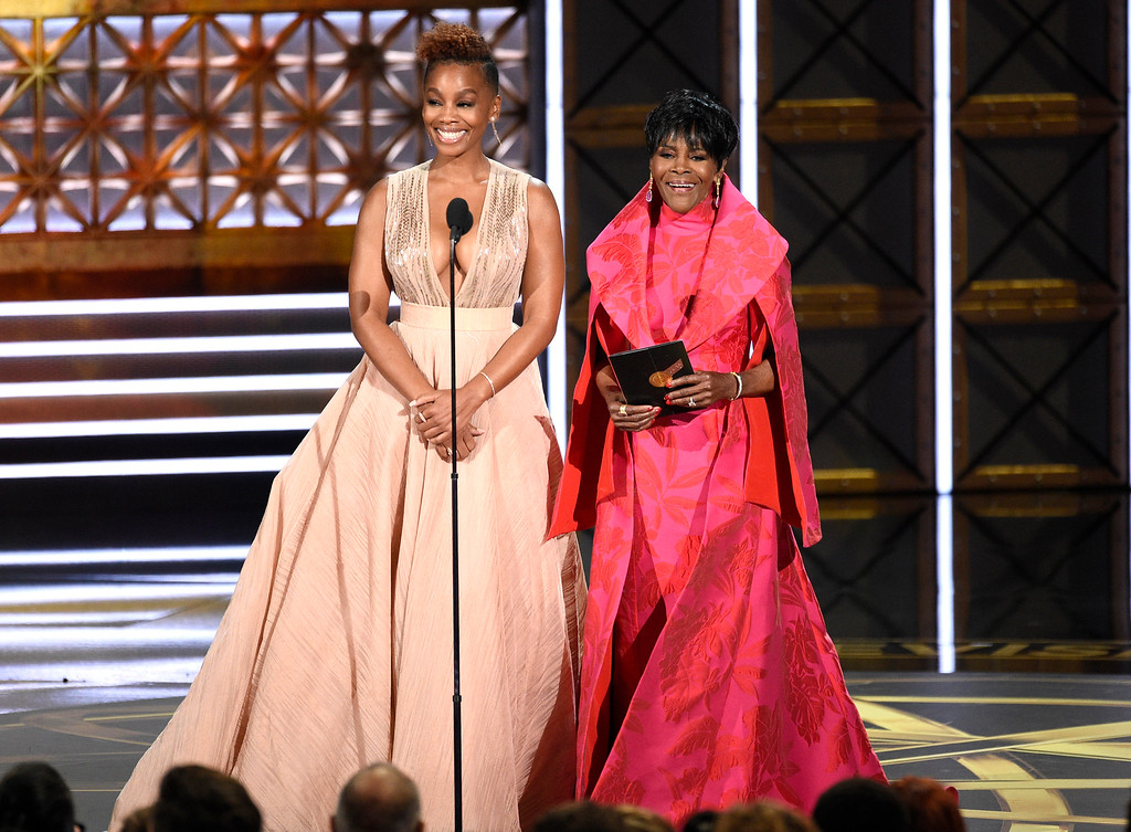 . Anika Noni Rose, left, and Cicely Tyson present the award for outstanding limited series at the 69th Primetime Emmy Awards on Sunday, Sept. 17, 2017, at the Microsoft Theater in Los Angeles. (Photo by Chris Pizzello/Invision/AP)