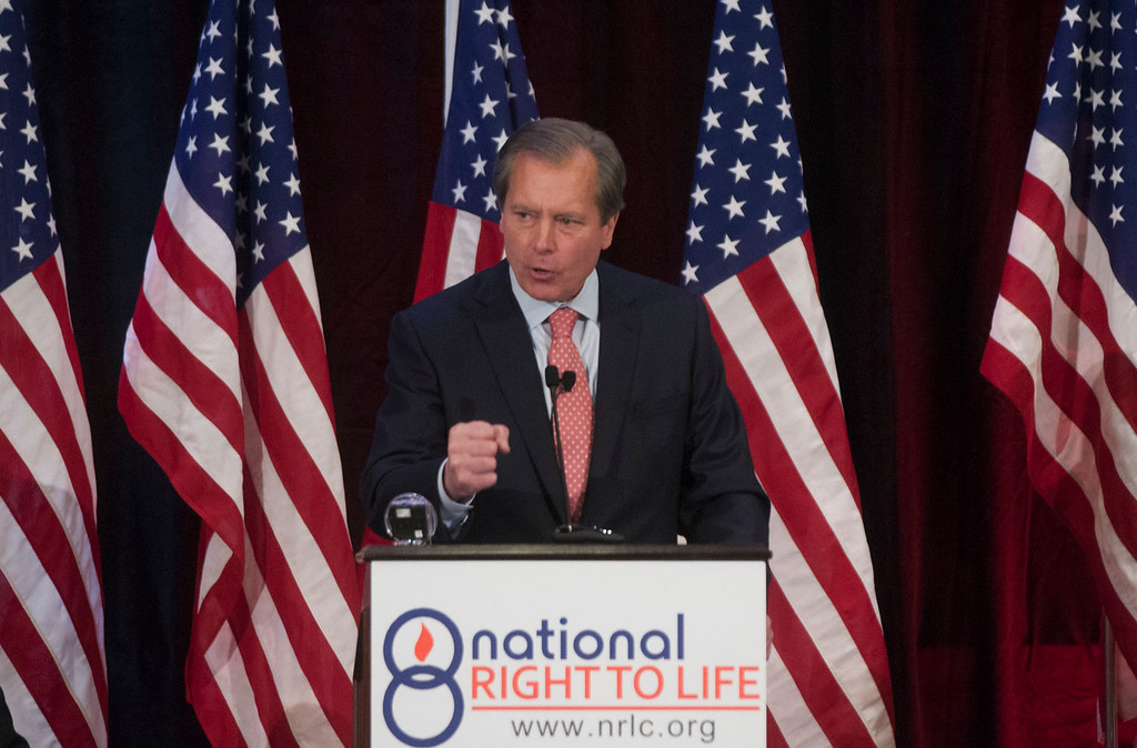 . Texas Lt. Governor David Dewhurst gives a speech at the National Right to Life Convention on Saturday, June 29, 2013. Dewhurst promised he would not allow crowds to derail a vote on abortion restrictions again, after a chaotic scene in which screaming protesters ran out the clock on a vote.  (AP Photo/The Dallas Morning News, Rex C. Curry)