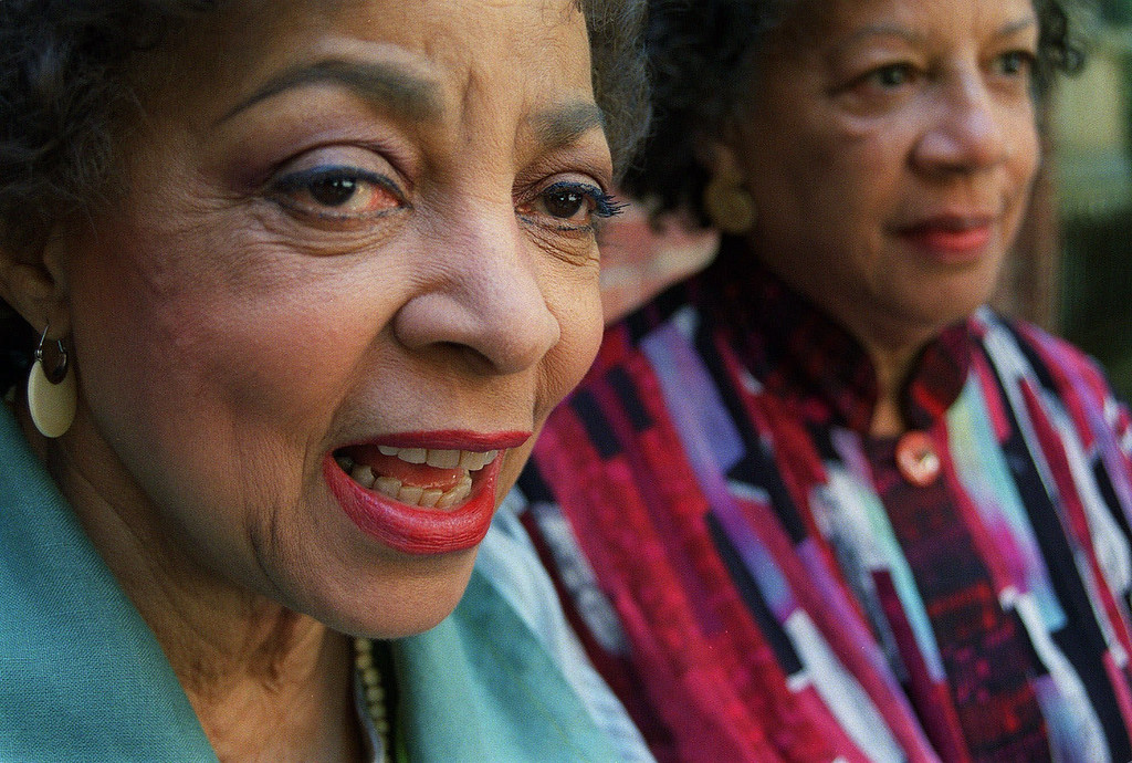 """. Actress Ruby Dee, left, and director Billie Allen are shown together during an interview Thursday, July 12, 2001, in New York. The two 76-year-old women brought their decades of experience to a production of a new four-act play \""""Saint Lucy\'s Eyes\"""" at the Cherry Lane Theatre in Manhattan. Dee and Allen said they feel a deep connection with the play\'s character \""""Grandma,\"""" a black grandmother in Memphis who performs abortions. (AP Photo/Tina Fineberg)"""