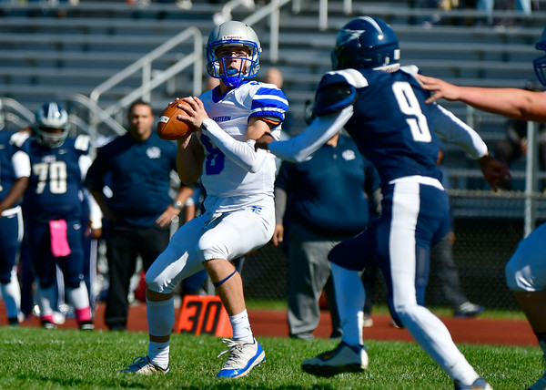 10/5/2019 Mike Orazzi | StaffrBristol Eastern's Bryce rCurtin (8) during Saturday's football game with Hartford Public in Hartford.