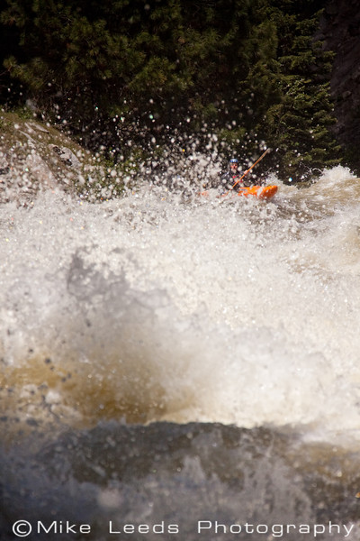 "Ian McLaran in ""S-Turn"" on the North Fork Payette River in Idaho. 8,000cfs+"