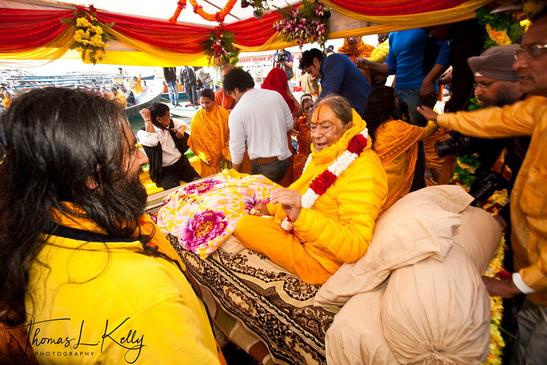 Jagatguru Kripaluji Maharaj, 5th original  incarnation of Krishna attends Kumbha Mela in Allahabad, India.