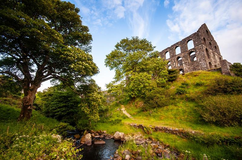 Ynys y Pandy slate mill ruins in Snowdonia