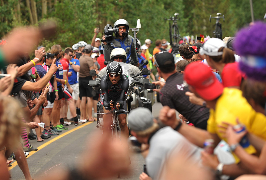 . Janier Alexis Acevedo of Jamis-Haggins is climbing Vail pass during the 10-mile Individual Time Trial of 2013 USA Pro Challenge, August 23, 2013. (Photo by Hyoung Chang/The Denver Post)