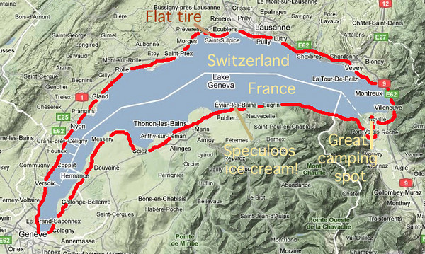 bicycle tour around lake geneva