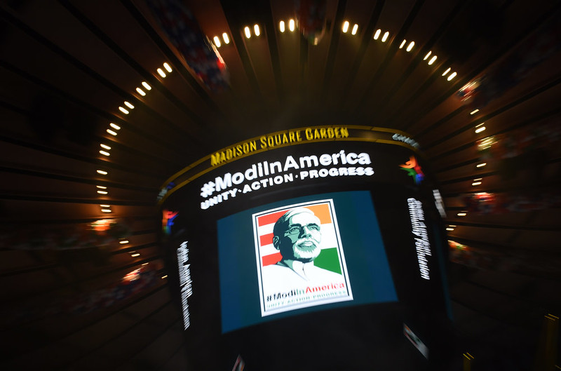 . The scoreboard shows a picture of Prime Minister Narendra Modi of India above the arena floor before a community reception for the Prime Minister September 28, 2014 at Madison Square Garden in New York. Modi received a rock star reception as thousands of US-based supporters cheered on the new right-wing leader in a packed arena. Modi, a Hindu nationalist who swept to power earlier this year, addressed the United Nations on September 27 at the start of a visit to the United States, which is eager to court him after shunning the right-wing leader for a decade. DON EMMERT/AFP/Getty Images
