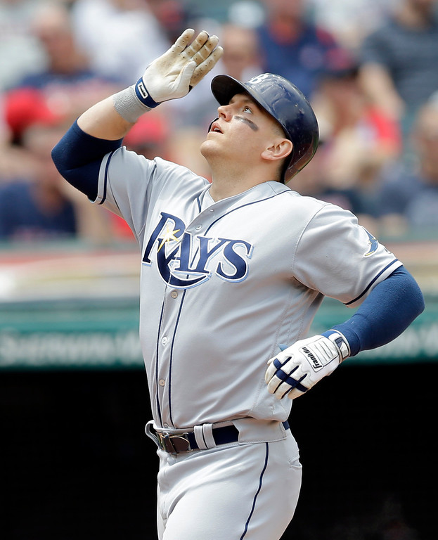 . Tampa Bay Rays\' Logan Morrison looks up after hitting a solo home run off Cleveland Indians starting pitcher Josh Tomlin in the third inning of a baseball game, Wednesday, May 17, 2017, in Cleveland. (AP Photo/Tony Dejak)