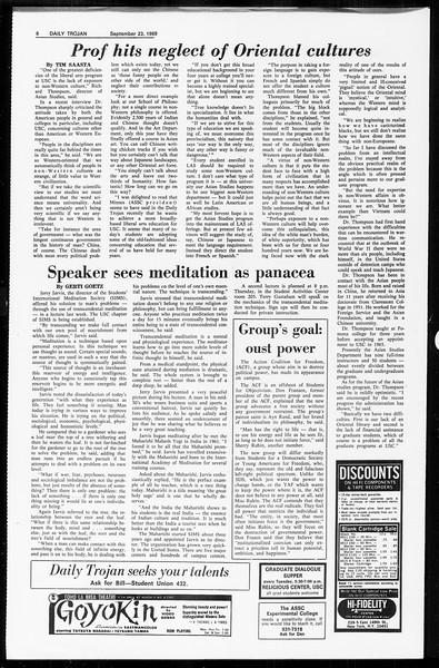 Daily Trojan, Vol. 61, No. 7, September 23, 1969