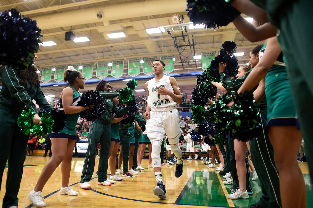 . Jervae Robinson (0) of Overland is introduced during the first half of play. The Overland Trailblazers hosted the Eaglecrest Raptors on Friday, January 8, 2016. (Photo by AAron Ontiveroz/The Denver Post)