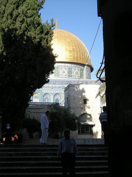 a glimpse of the golden dome at Haram ash Sharif