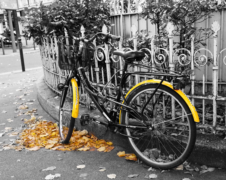 Bicycle yellow B&W Nik 1337.jpg