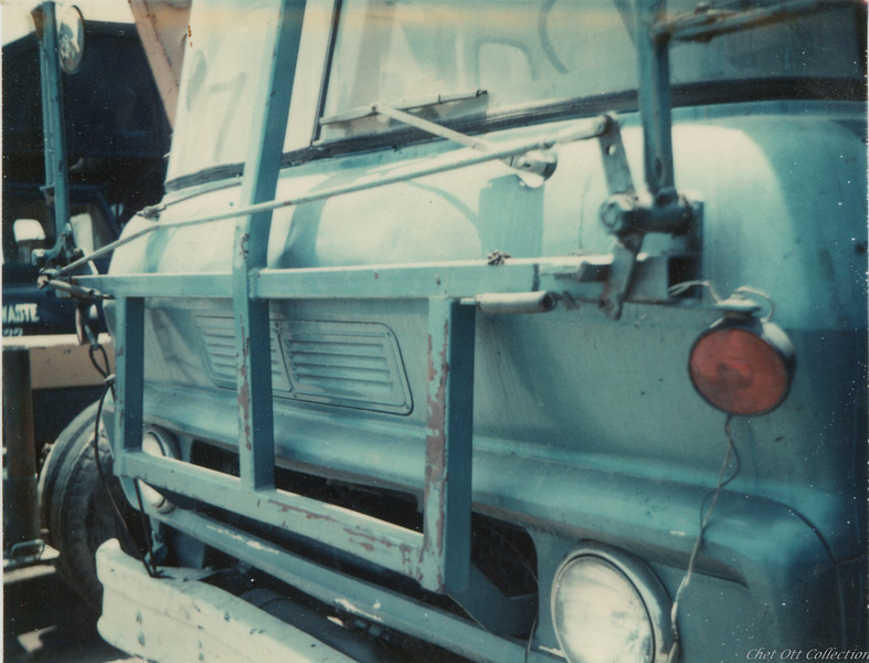 Detail of Windshield Guard Modified to Hold Folding Mirrors