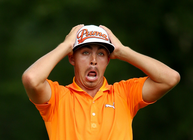 . Rickie Fowler of the United States reacts on the fifth tee during the final round of the 96th PGA Championship at Valhalla Golf Club on August 10, 2014 in Louisville, Kentucky.  (Photo by Warren Little/Getty Images)