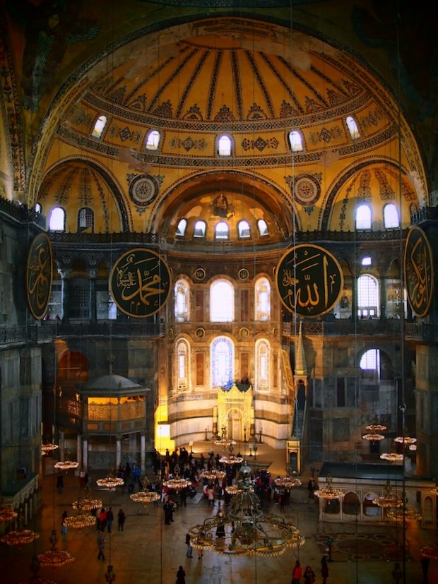 The main dome inside Hagia Sofia