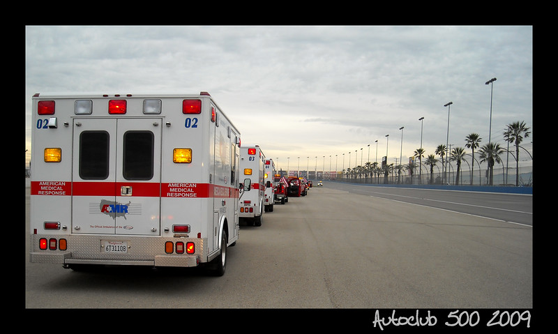 Staging EMS at the NASCAR Autoclub 500 in Fontana California
