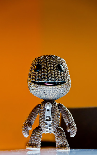 Dramatic sackboy on light table (D5100 test)
