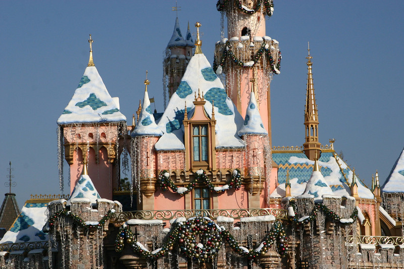 This is the first year that the castle roof has had snow during the holiday season.