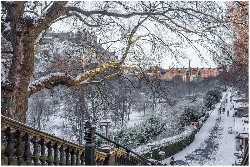 West Princes Street Gardens and Edinburgh Castle in the snow