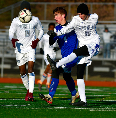 11/13/2019 Mike Orazzi | StaffrBristol Eastern's Tyler Borry (4) during the Class L Second Round boys soccer tournament with Bunnell High School in Bristol on Wednesday.