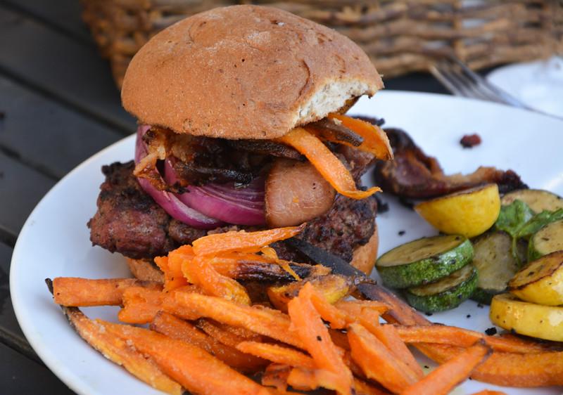 Hamburger with sweet potato fries and squash