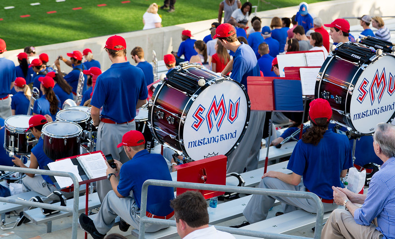 The Southern Methodist Univ. band settles in to the stands.