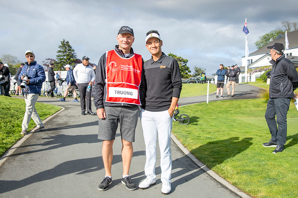 Chi Quan Truong from Vietnam with his caddy (John Rollins) after hitting off the 1st tee on Day 1 of competition in the Asia-Pacific Amateur Championship tournament 2017 held at Royal Wellington Golf Club, in Heretaunga, Upper Hutt, New Zealand from 26 - 29 October 2017. Copyright John Mathews 2017.   www.megasportmedia.co.nz