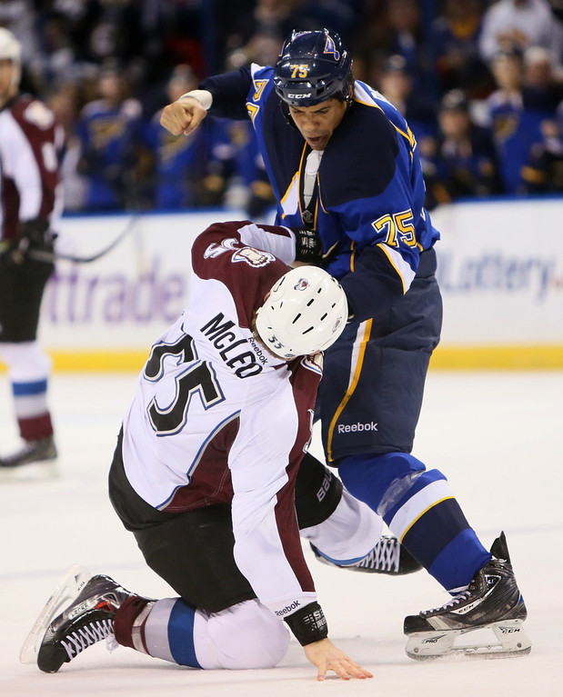 . St. Louis Blues right wing Ryan Reaves, right. fights with Colorado Avalanche left wing Cody McLeod during the second period of an NHL hockey game, Thursday, Nov. 14, 2013, in St. Louis. (AP Photo/St. Louis Post-Dispatch, Chris Lee)