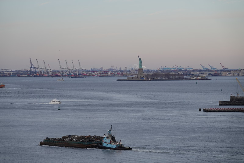The Statue of Liberty from the Brooklyn Bridge.