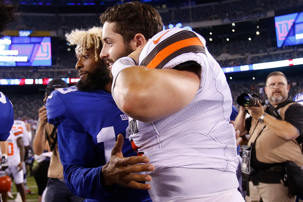 . New York Giants wide receiver Odell Beckham (13) and Cleveland Browns\' Baker Mayfield (6) greet each other after a preseason NFL football game Thursday, Aug. 9, 2018, in East Rutherford, N.J. The Browns won 20-10. (AP Photo/Adam Hunger)