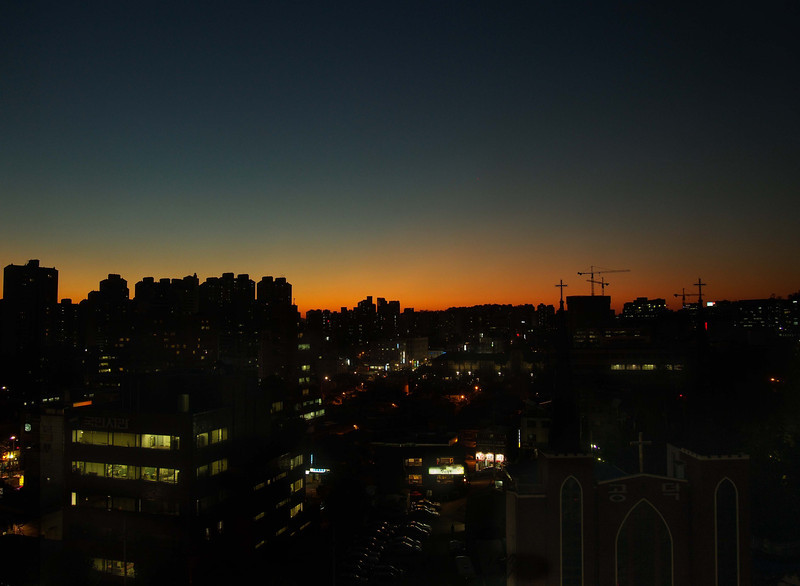 Our first Korean sunset. Mapo-gu, Seoul