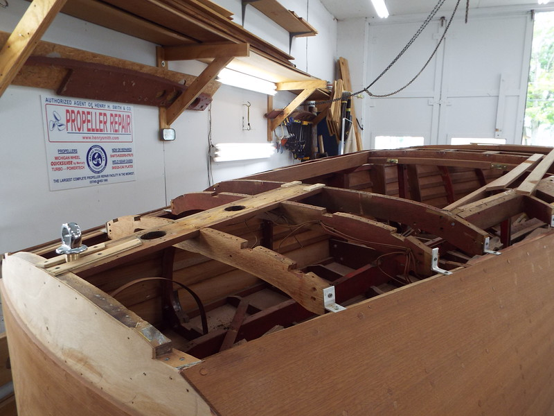 Another view of the rear deck frames being rebuilt.