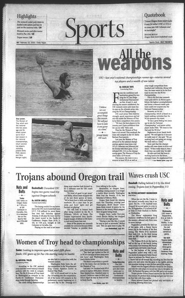 Daily Trojan, Vol. 142, No. 29, February 22, 2001