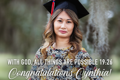 Congratulations Cynthia 12/16/18