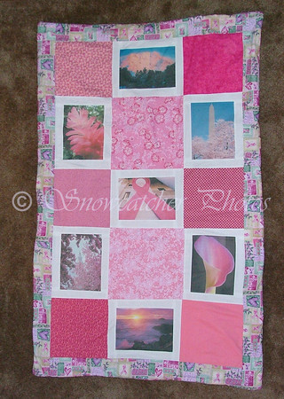 One of my first quilts with fabric I printed myself.  Made as a fund-raiser for Susan G. Komen, won by a breast cancer survivor.  Not rigged.