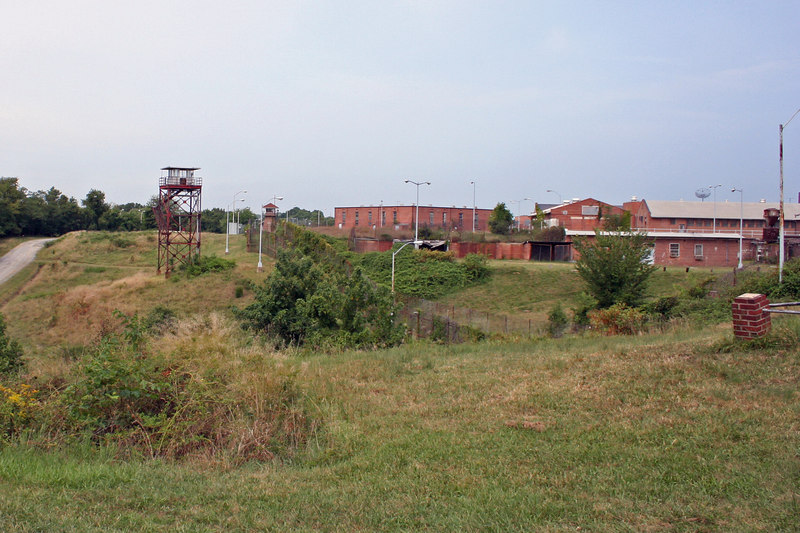 View of prison off to left of Lindsay grave site.