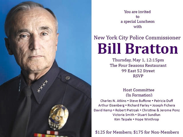THE COMMON GOOD Leadership Series Luncheon with NYC Police Commissioner BILL BRATTON