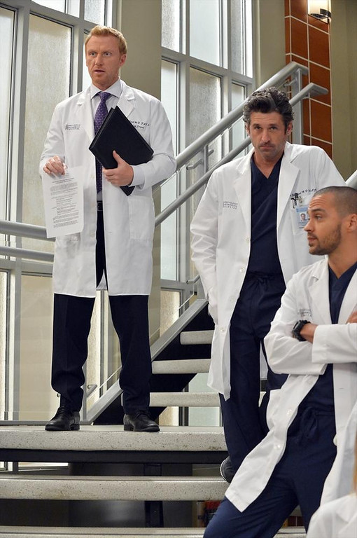 ". GREY\'S ANATOMY - ""You\'ve Got To Hide Your Love Away\""  (ABC/Eric McCandless) KEVIN MCKIDD, PATRICK DEMPSEY, JESSE WILLIAMS"