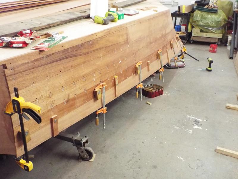 Fitting the last port plank.