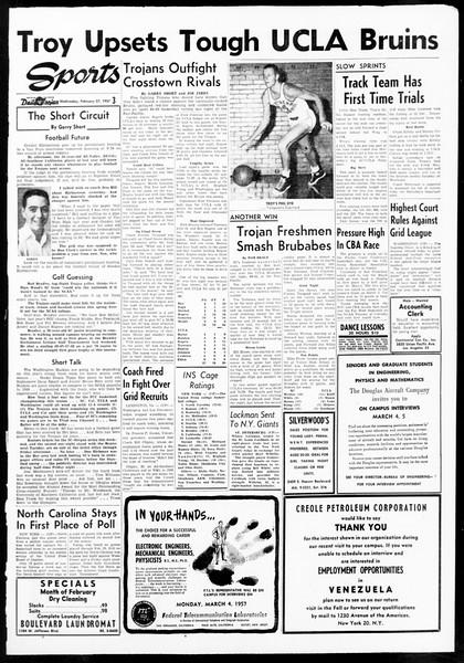 Daily Trojan, Vol. 48, No. 82, February 27, 1957