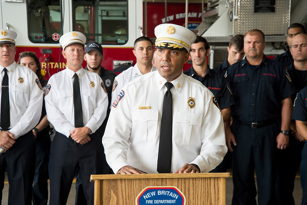 09/13/19 Wesley Bunnell | StaffrrThe New Britain Fire Department is receiving federal grant money to improve safety in the fire houses along with EMS workers receiving grant money to replace aging equipment in a press conference announced by Senator Richard Blumenthal and Mayor Erin Stewart. Fire Chief Raul Ortiz speaks during the conference.