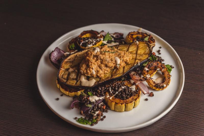 roast eggplant, delicata squash, lemtils, eggplant puree