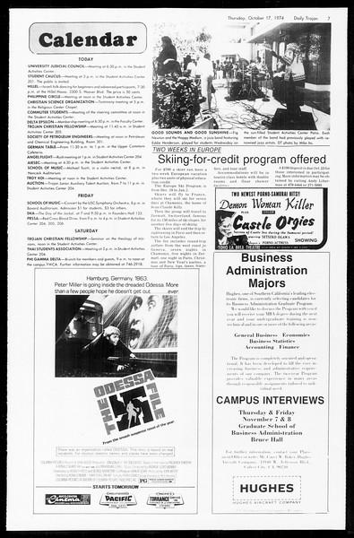 Daily Trojan, Vol. 67, No. 24, October 17, 1974