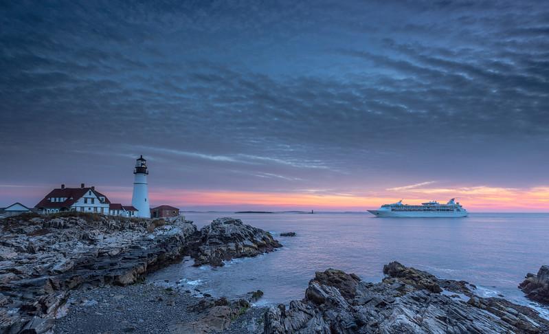 Portland Head Light sunrise with RCCL Grandeur of the Seas