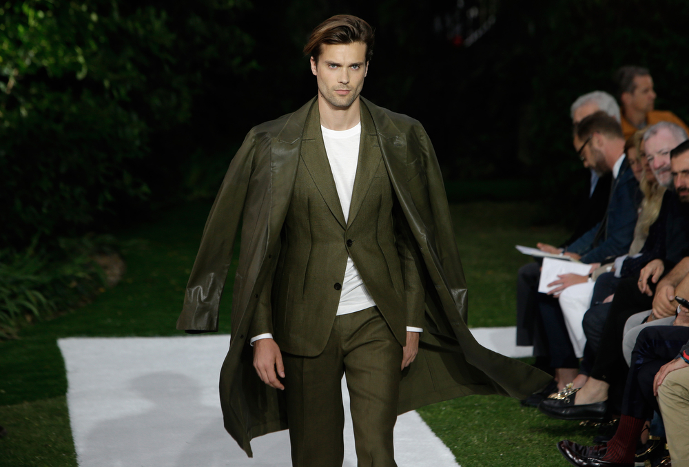 . A model wears a creation by Italian designer Alessandro Sartori as part of Berluti men\'s Spring-Summer 2015 fashion collection, presented in Paris, Friday, June 27, 2014. (AP Photo/Thibault Camus)